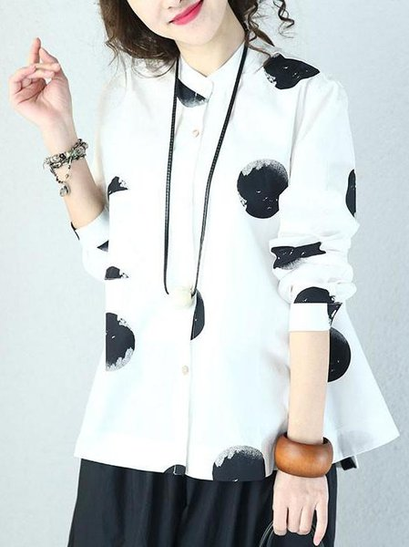 Stand Collar Casual Long Sleeve Linen Top
