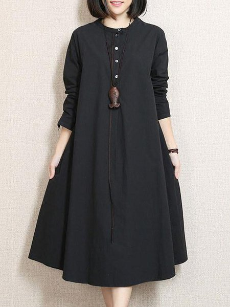 Black Cotton Solid Crew Neck Casual Linen Dress