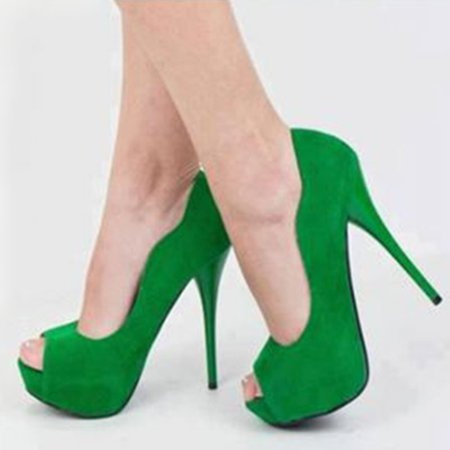 Green Spring/Fall Suede Heels