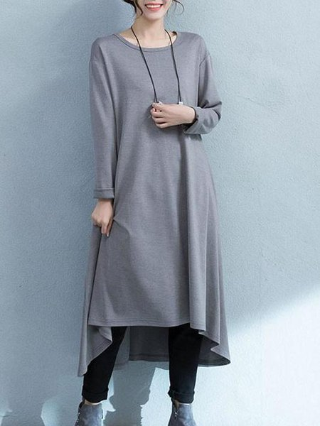 Light Gray Long Sleeve Asymmetrical Cotton Linen Dress