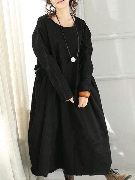 Black Crew Neck Shift Cotton Long Sleeve Linen Dress