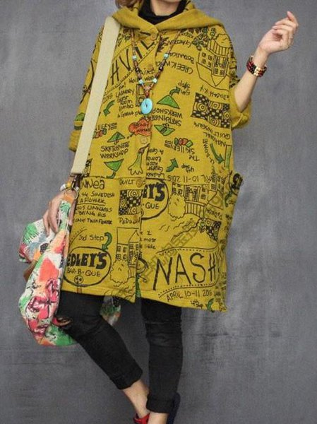 Yellow Shift Casual Printed Hoodie Linen Outerwear