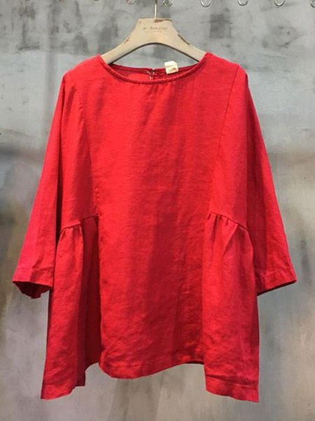 3/4 Sleeve Linen Crew Neck Casual Linen Top