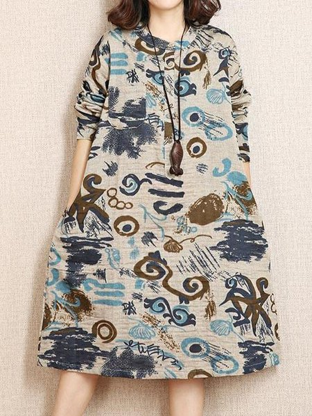 Long Sleeve Stand Collar Abstract Casual Shift Linen Dress