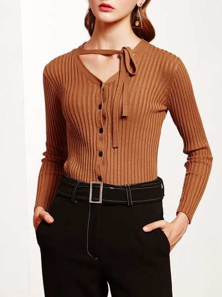 Cotton-blend Plain Long Sleeve Casual V Neck Knitted Top