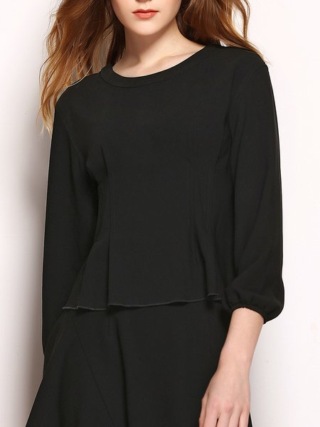 Flounce Ruffled Crew Neck Balloon Sleeve Casual Solid Tops