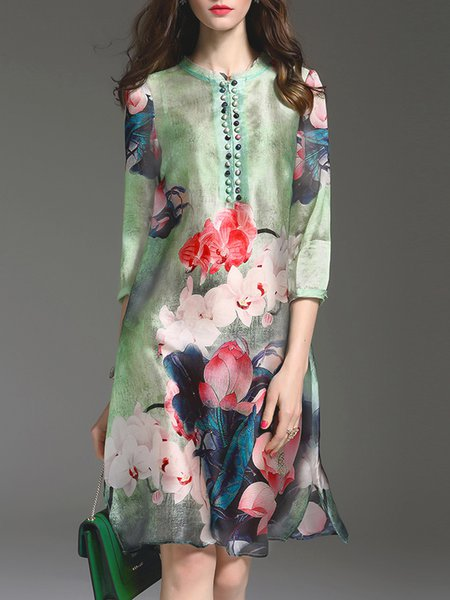 Green 3/4 Sleeve A-line Printed Midi Dress