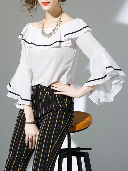 White Simple Cotton Ruffled Blouse
