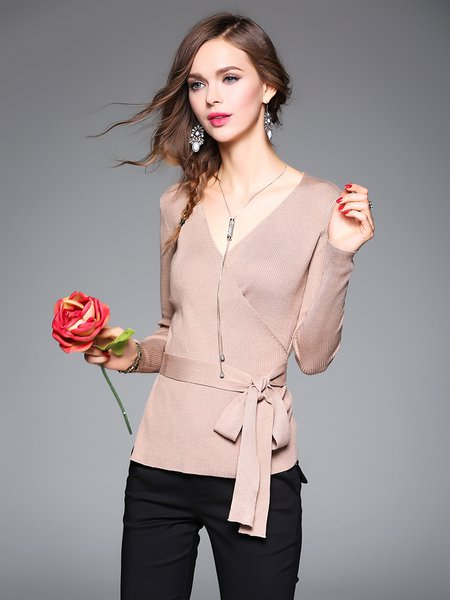 Plain Casual Knitted Long Sleeve Simple Bow Sweater