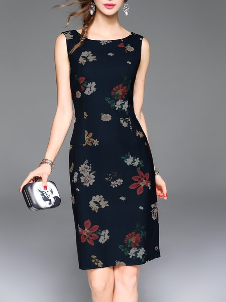 Dark Blue Sleeveless Floral Print Vintage Midi Dress