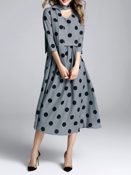 Polka Dots A-line 3/4 Sleeve Midi Dress with Belt