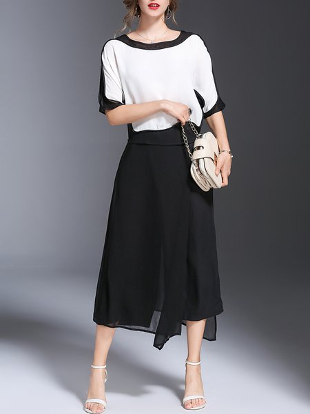 Two Piece White-black Half Sleeve Polyester Color-block Jumpsuit