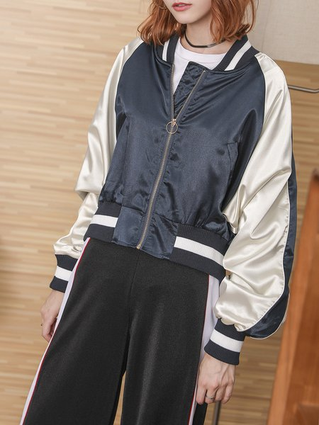 Casual Embroidered Stand Collar Long Sleeve Coat
