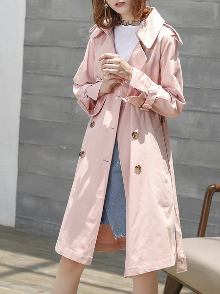 Pink Lapel Buttoned Long Sleeve Trench Coat