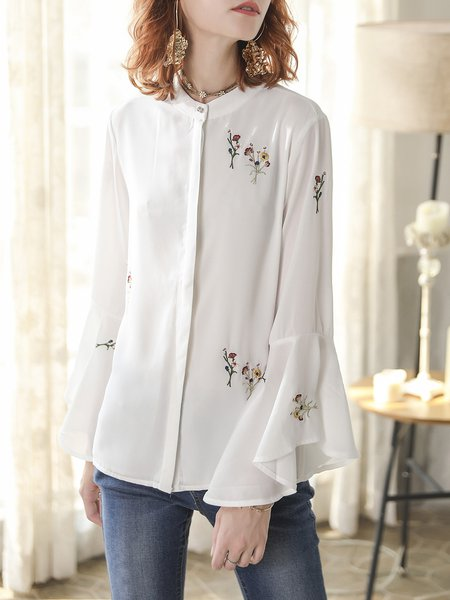 Girly Floral Bell Sleeve Stand Collar Acetate Blouse