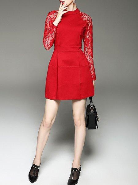 Red Lace Paneled Long Sleeve Plain Mini Dress