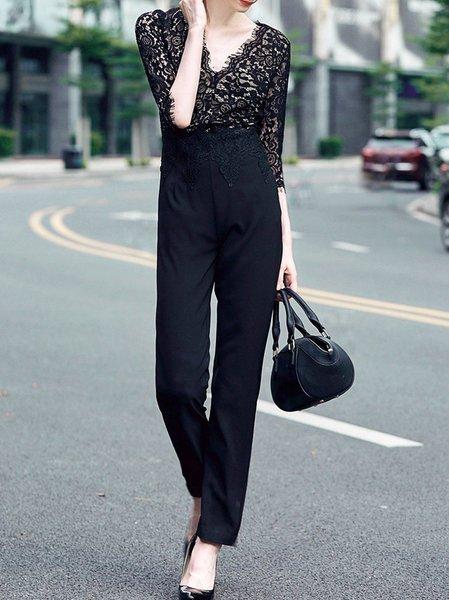 Plain Elegant Paneled Half Sleeve Jumpsuit