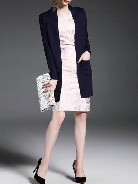 Purplish Blue Long Sleeve Knitted Cardigan