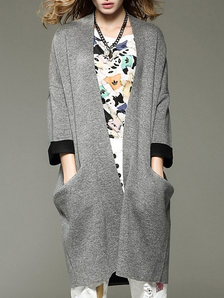 Gray 3/4 Sleeve H-line Wool Pockets Long Coat