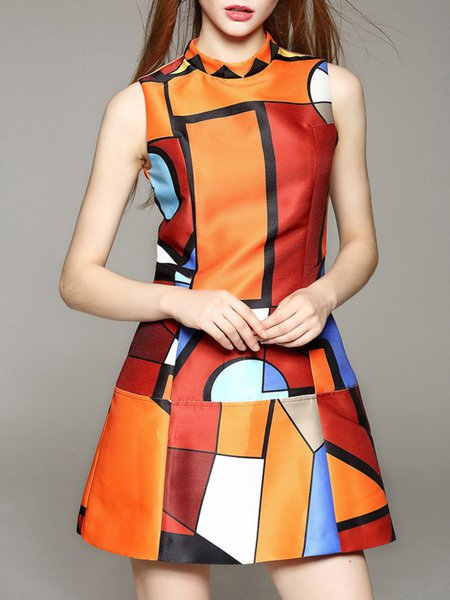 Orange Geometric Sweet Mini Dress