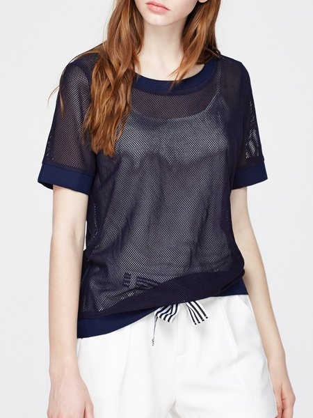 Navy Blue Casual See Through Plain Shorts Sleeved Top