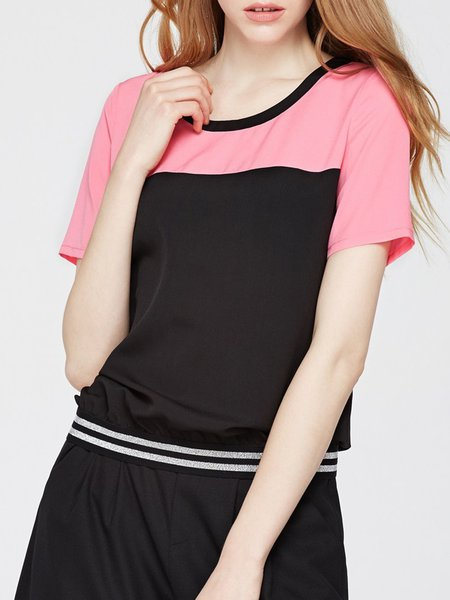 Rose Casual Color-block Short Sleeved Top