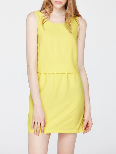 Yellow Plain Sleeveless Mini Dress