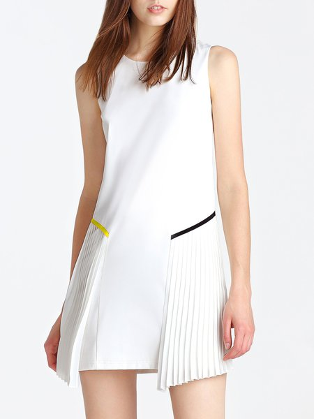 White Sleeveless Pleated Casual Shift Mini Dress