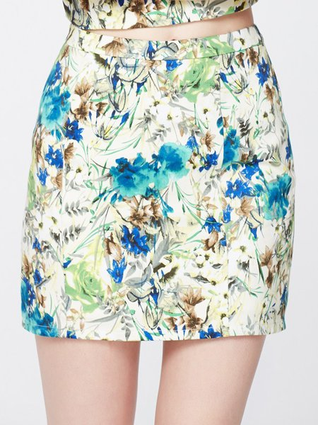 Multicolor Vintage Floral-print Mini Pencil Skirt