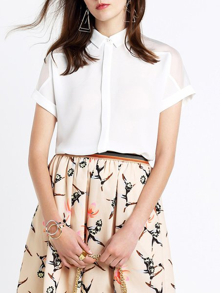 White Lapel Organza Plain Work Loose Blouse