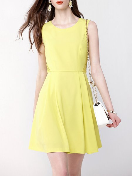 Yellow Plain Basic Crew Neck A-line Mini Dress