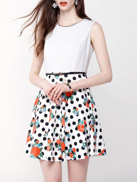 White Sleeveless Polka Dots Floral Print Mini Dress With Belt