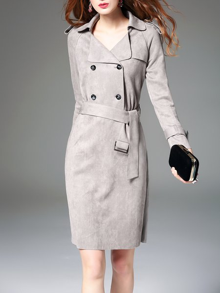 Gray Suede Long Sleeve Sheath Midi Dress With Belt