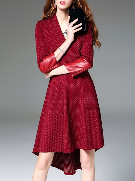 Wine Red Surplice Neck Paneled PU Elegant Midi Dress