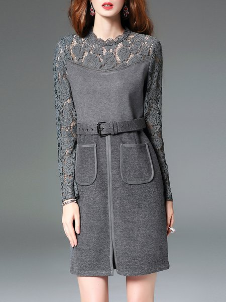 Gray Long Sleeve Paneled Lace Plain Mini Dress With Belt