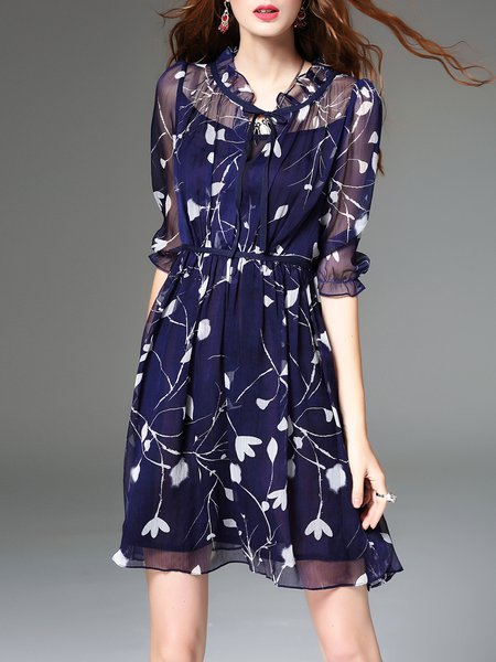 Mesh Half Sleeve Floral Elegant Midi Dress