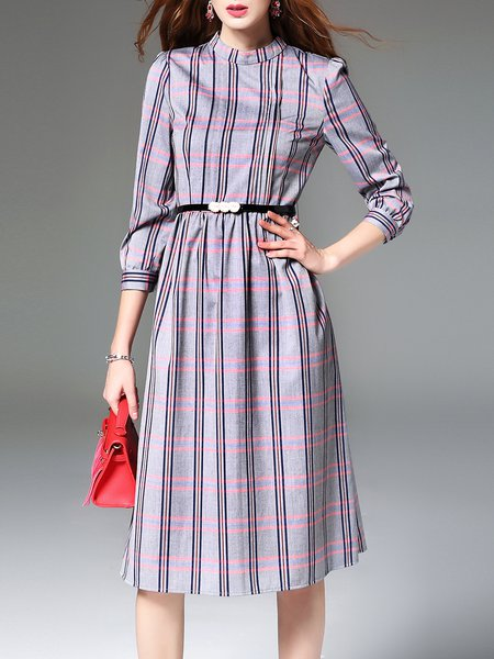 Polyester Work 3/4 Sleeve Printed Checkered/Plaid Midi Dress