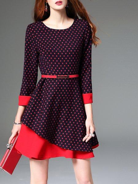 Wine Red Polka Dots Crew Neck 3/4 Sleeve A-line Mini Dress