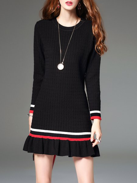 Black Flounce Knitted Long Sleeve Sweater Dress