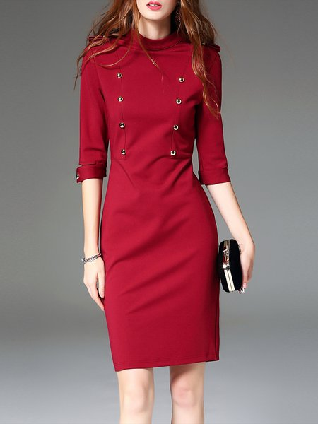 Wine Red Half Sleeve Cutout Stand Collar Buttoned Mini Dress
