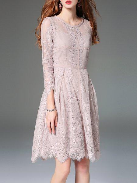 3/4 Sleeve Cotton-blend Elegant Floral Midi Dress