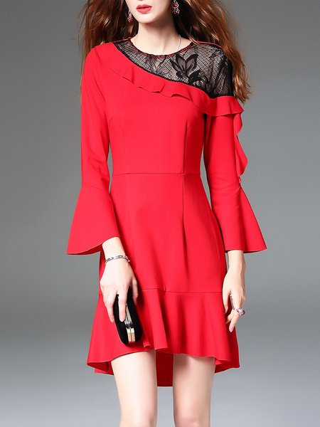 Red Frill Sleeve Statement Flounce Plain Mini Dress
