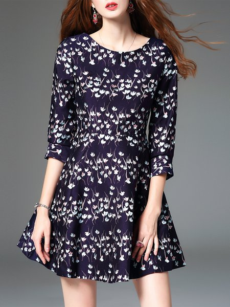 Purple Floral A-line Casual Cutout Mini Dress