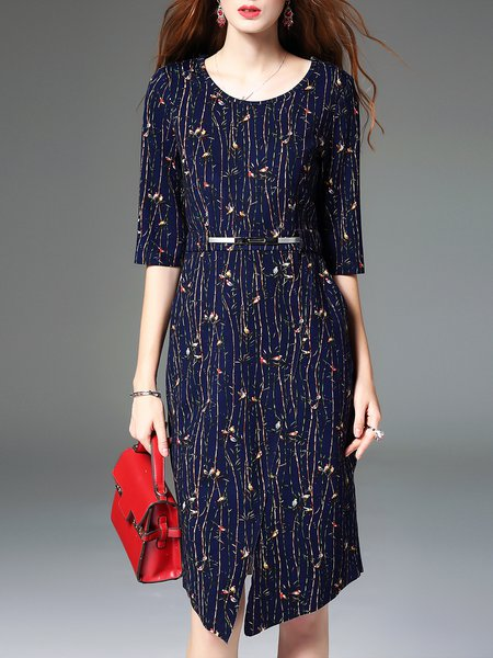 Dark Blue Animal Print Half Sleeve Cotton-blend Midi Dress with Belt