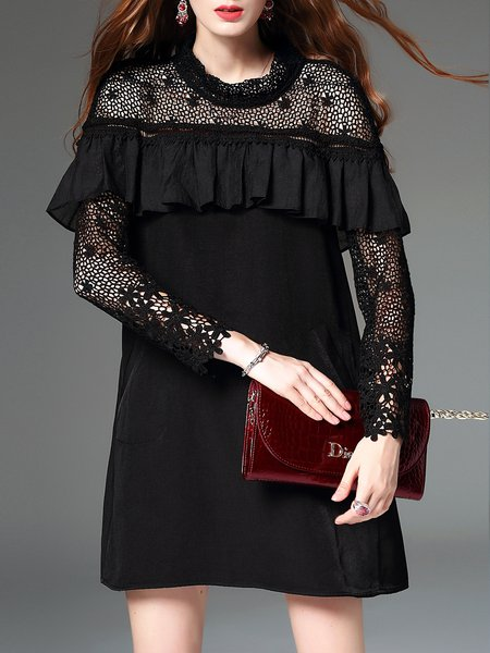 Black Long Sleeve Stand Collar Ruffled Crochet-trimmed Mini Dress