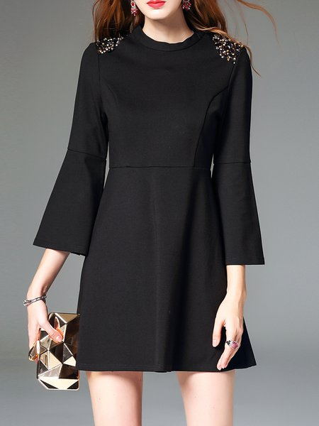 Black Cotton-blend 3/4 Sleeve A-line Mini Dress