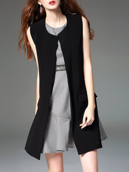 Black Work Wool Blend Vests And Gilet