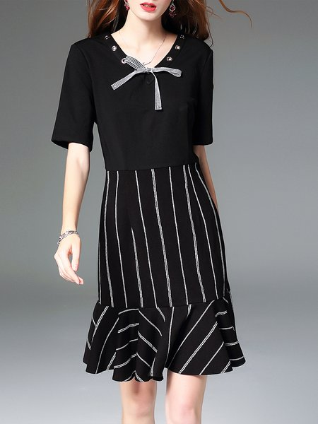 Elegant Flounce Crew Neck Stripes Short Sleeve Midi Dress