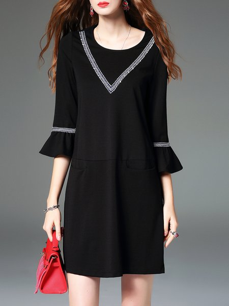 Black Polyester Frill Sleeve H-line Mini Dress