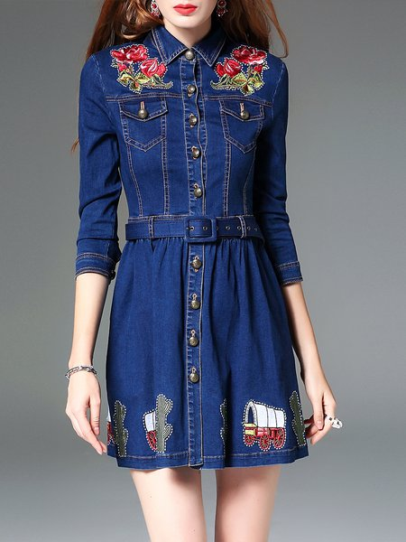 Dark Blue Shirt Collar Statement Embroidered Mini Dress